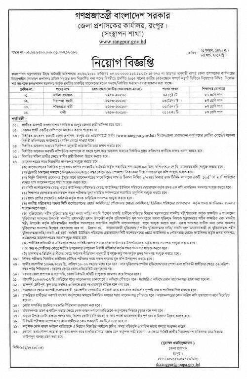 Bangladesh Depute Commissioner Job Circular-2017