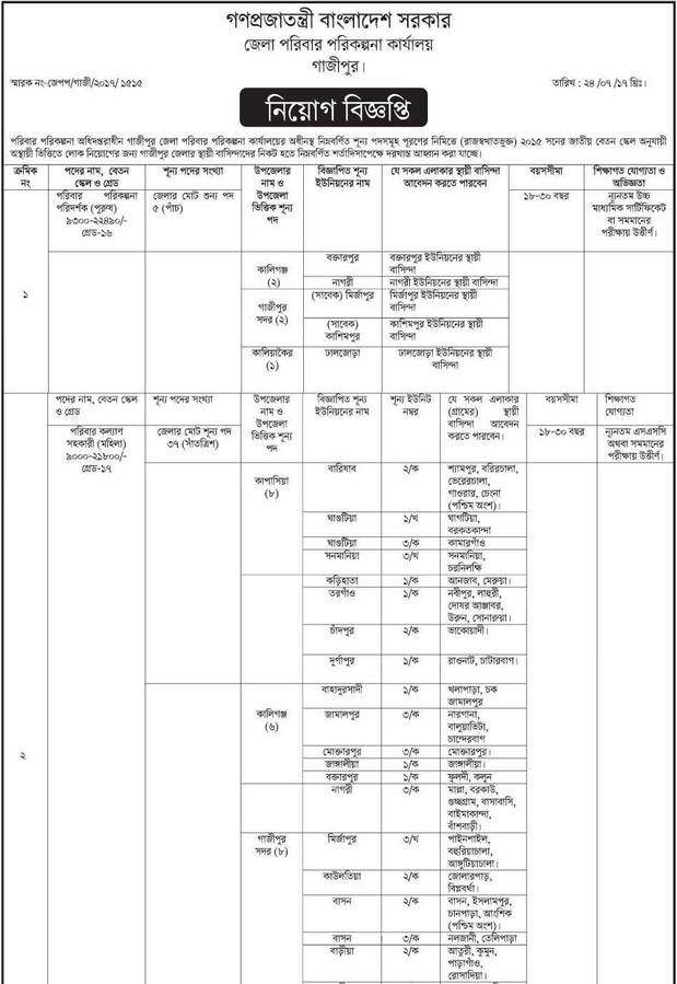 Directorate General of Family Planning Job Circular 2017
