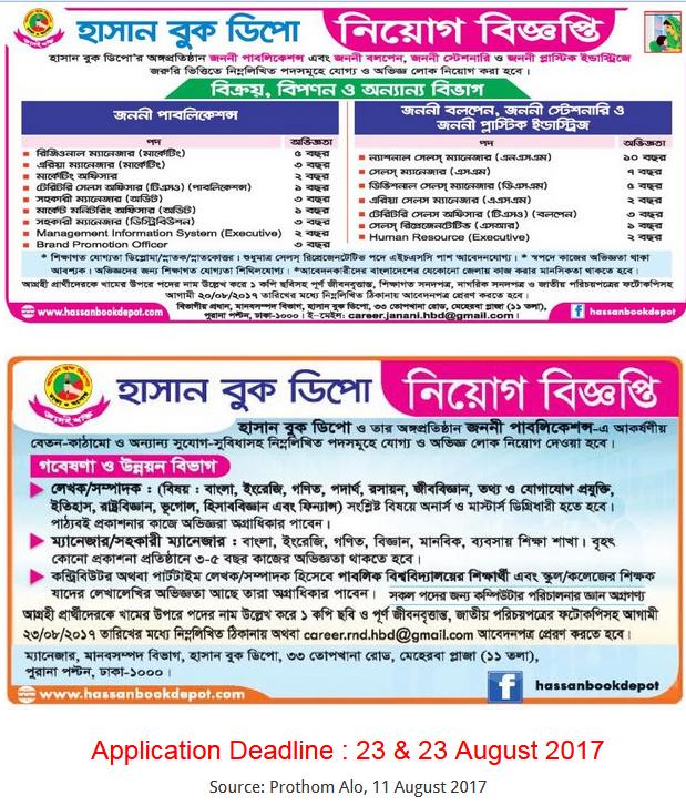 Hasan Book Depot Job Circular- 2017