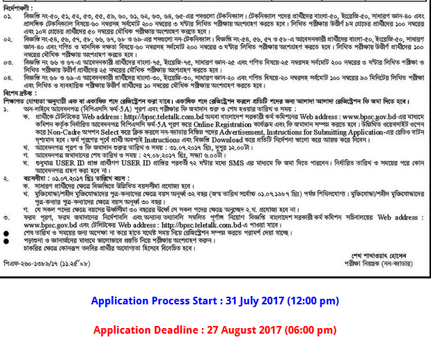 BPSC Non Cadre Job Circular 2017 BPSC.GOVT.BD