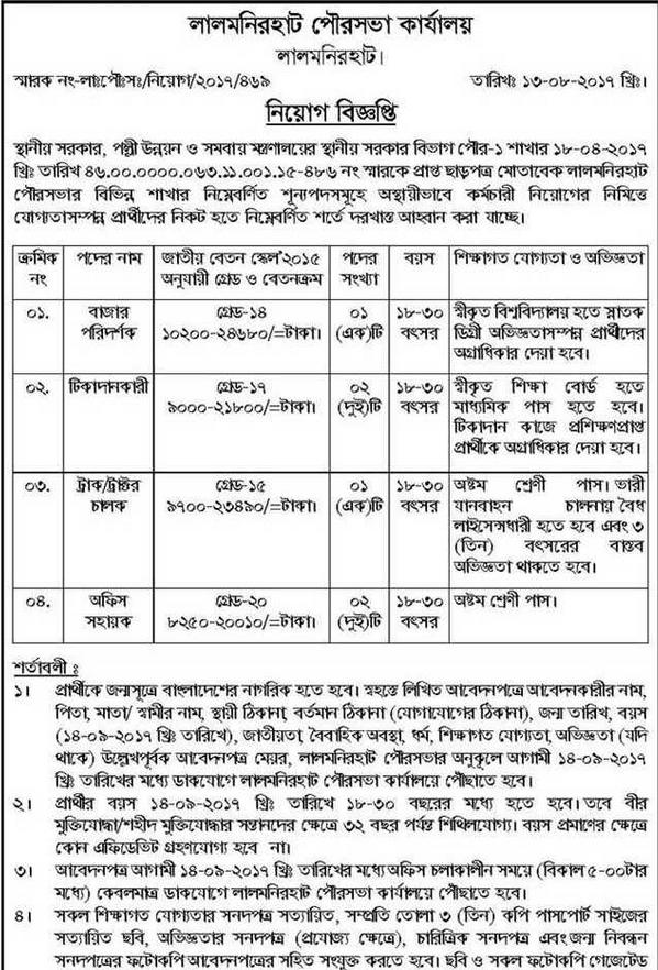 Municipality Job circular- 2017